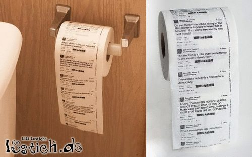 Klopapier mit Donald-Trump-Tweets
