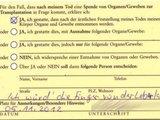 Organspende - Ausweis
